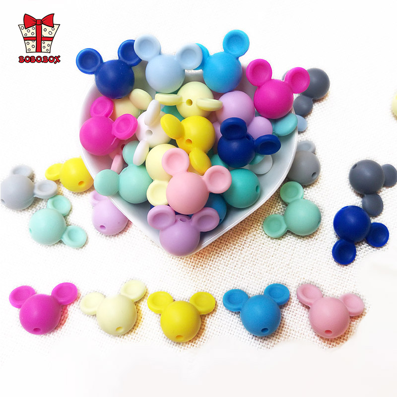 BOBO.BOX 10pcs Mickey Baby Teething Beads Food Grade Cartoon Mouse Shape Beads For Necklaces BPA Free Baby Teether Toy Nursing