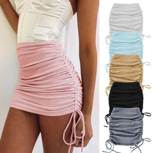 Stretch Skirt Pencil Spring Women Sexy High-Waist Summer WDC6172 Lace-Up Drawstring Adjustable