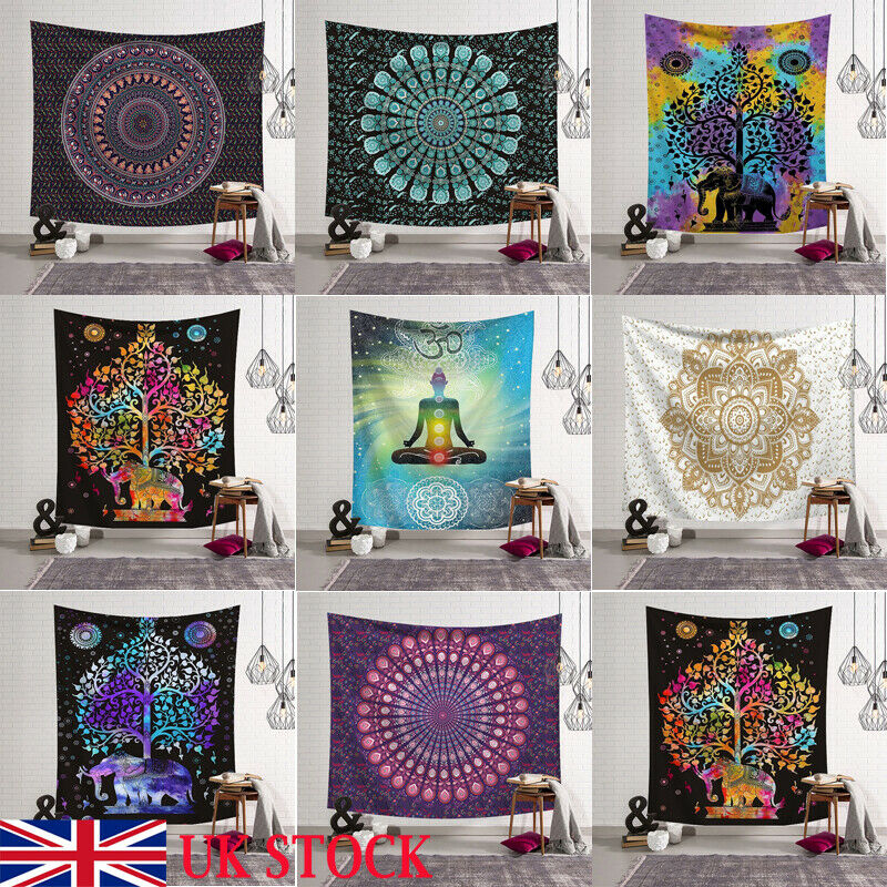Fashion Tapestry Wall Hanging Polyester Indian Mandala Pattern Blanket Home Decoration Yoga Multifunction Mat Small 95x73cm