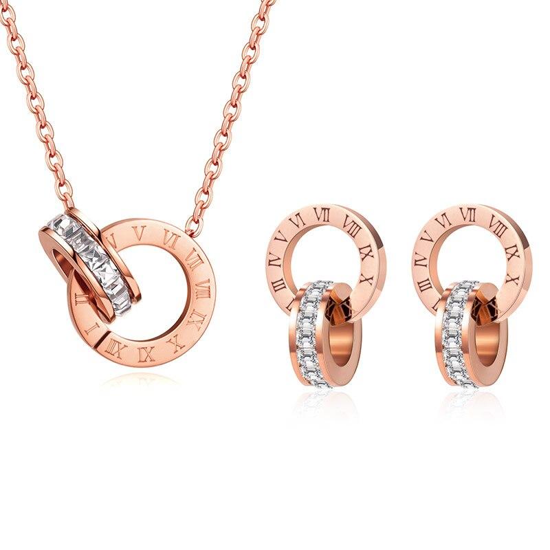 Luxury Elegant Roman Numeral Crystal Necklace Earrings Set For Women Fashion Stainless Steel Earrings 2020 Trend Wedding Jewelry