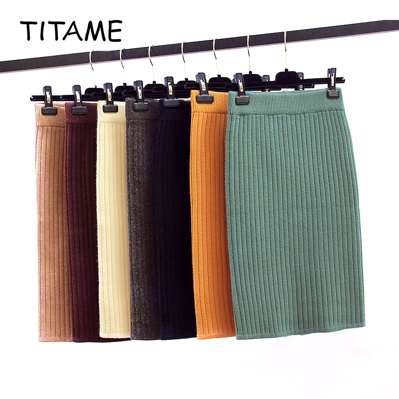 TITAME Great Elastic Skirt Women Spring Knitting Skirts Female Straight 50cm Mini Skirt Plus 3XL 7 Multiple Colors Casual Wear