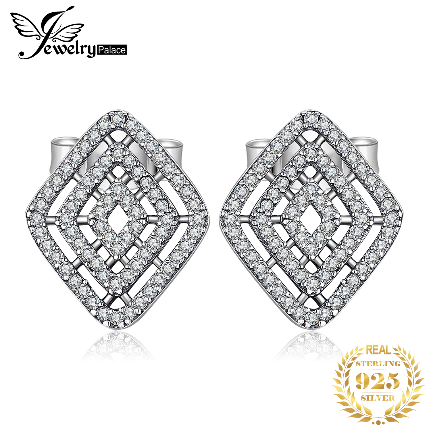 Jewelrypalace Earrings 925-Sterling-Silver Butterfly Cubic-Zirconia Fashion Geometrical-Lines