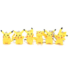 6 Pieces / Set of Cartoon Key Ring Dolls Anime Stereo Pikachu Hand-held Key Ring Small Gift Resin Doll Pendant Ornaments sketch small picture mini resin plaster ornaments small head 6 7 cm tall 10 pcs set