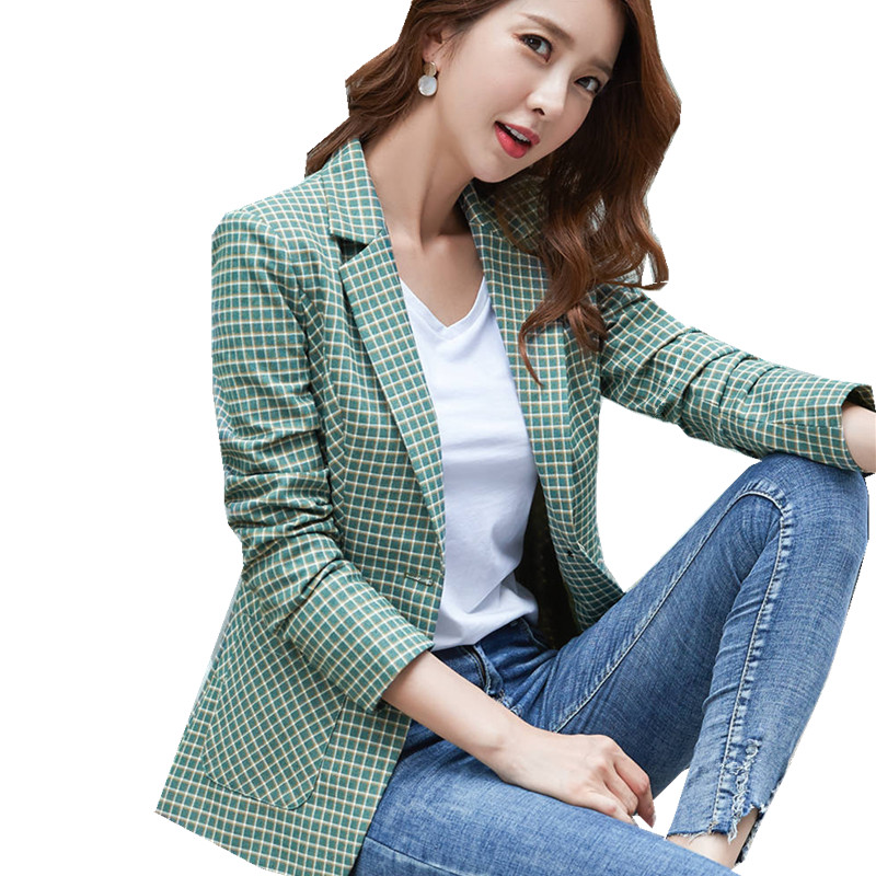 Fashion Green Plaid Blazer Notched Full Sleeve Double Breasted Big Pocket Plus Size Women's Jacket Slim Top Suit