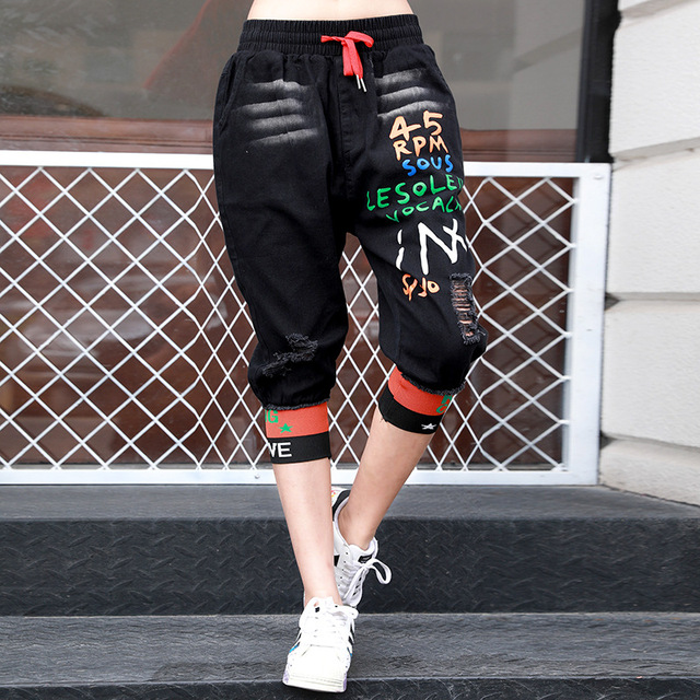 Max LuLu 2020 New Korean Fashion Ladies Vintage Ripped Jeans Womens Casual Printed Denim Trousers Female Punk Style Harem Pants