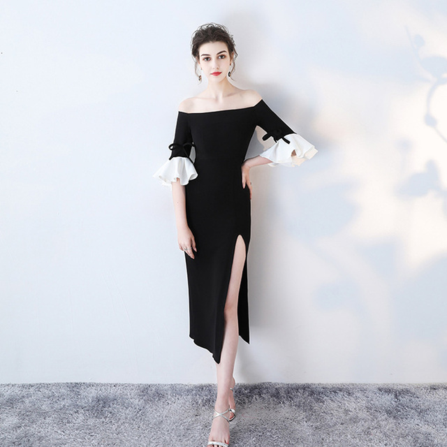 Evening Dress Ruffles Half-sleeve Robe De Soiree Boat Neck Black Split Evening Dresses Off The Shoulder Formal Gown LX355