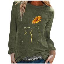 T-shirt manches longues Femme, chat ample, tournesol, doux et décontracté, mode été automne 2020