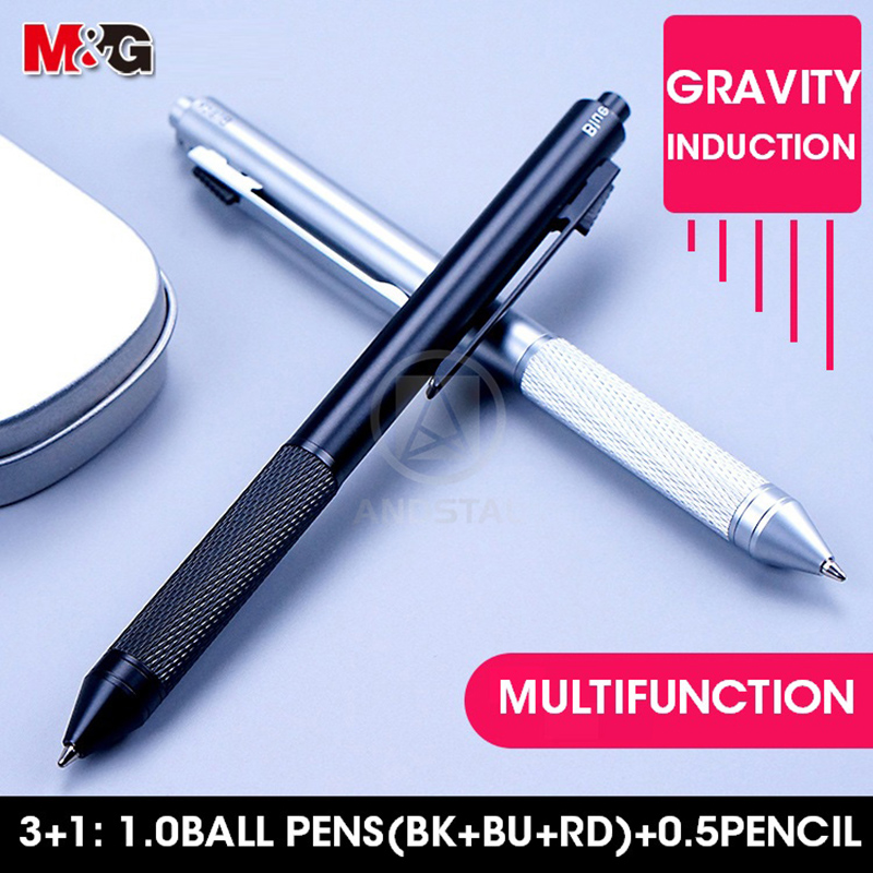 M&G Unique Metal Multifunctional Pen 4 In 1 Includes 3 Colors Ball Pens 1.0mm Mechanical Pencil 0.5mm Multicolor Multifunction