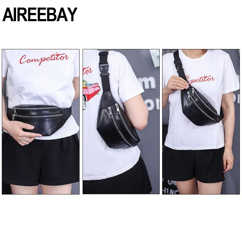 AIREEBAY Women Chest Bag Waist Packs For Unisex Female Pu leather Fanny Packs 2020 New Fashion Banana Ladies Belt Bum Bags
