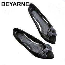 Beyarne primavera outono nova mulher doce sapatos de moda casual confortável tamanho grande borboleta nó sapatos planos sapatos de trabalho feminino