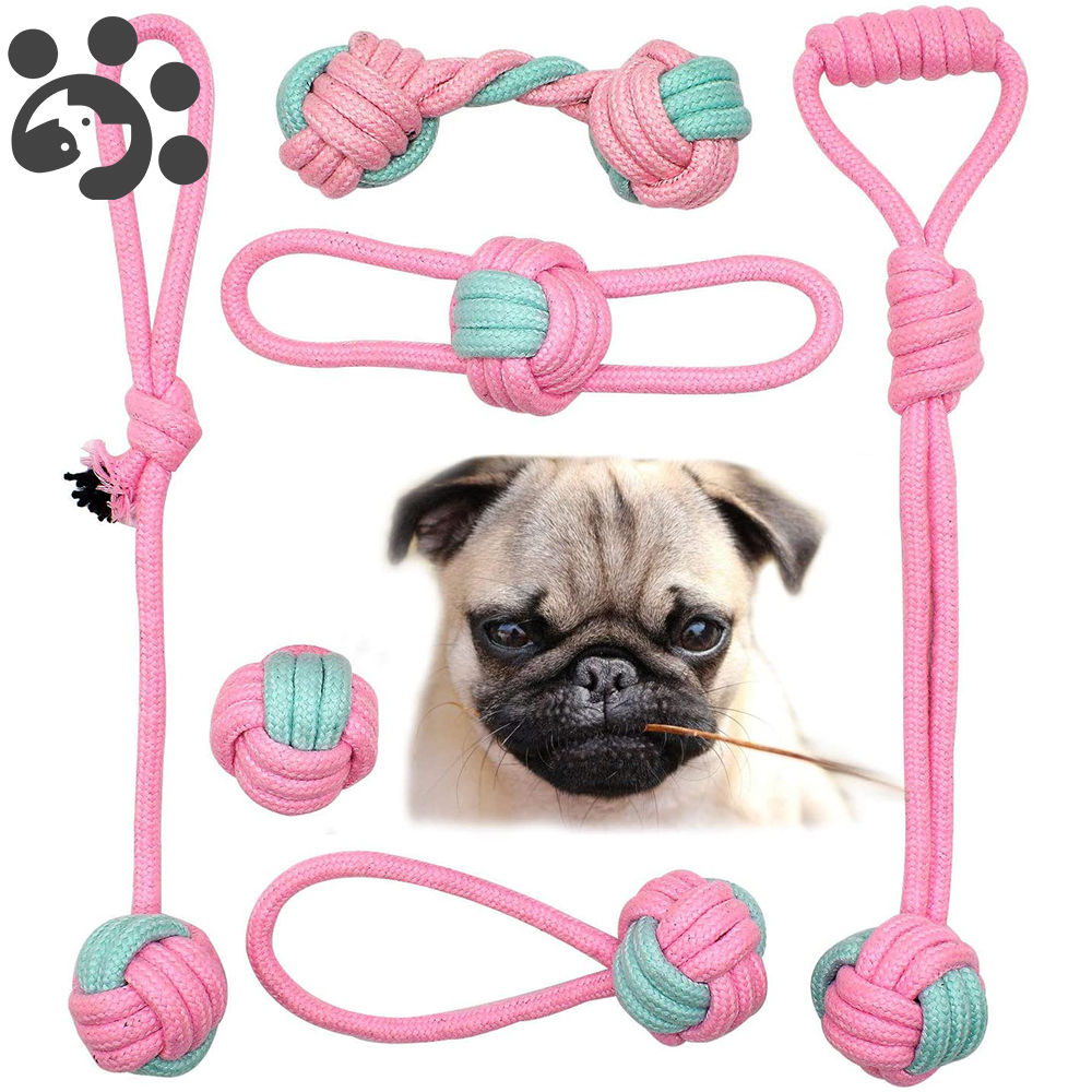 6 Packs Cotton Rope Dog Chew Toy Pet Small Dog Toy Teeth Clean Dog Chewing Ball Toy for Small Dogs Puppy Interactive Durable