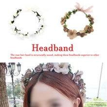 Women Wedding Rose Artificial Flower garland Wreath headband and Hair Hairband Ornaments Beach Wrape wreath gift