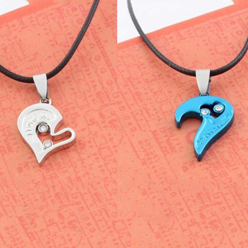 1 paire mode Couple coeur forme I Love You pendentif collier unisexe amoureux Couples bijoux mode cadeau accessoires