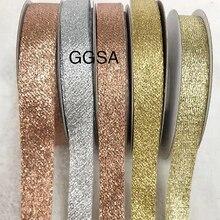 Блестящая металлическая лента «сделай сам», 15, 20 мм, ободок для одежды, сумки для свадебной вечеринки, подарки, упаковка, блестящие ленты цвета розового золота, серебра