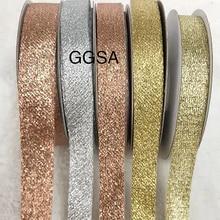 15 20mm glitter metálico fita diy browband bandana sacos de vestuário festa de casamento presentes embalagem cintilante rosa ouro prata fitas