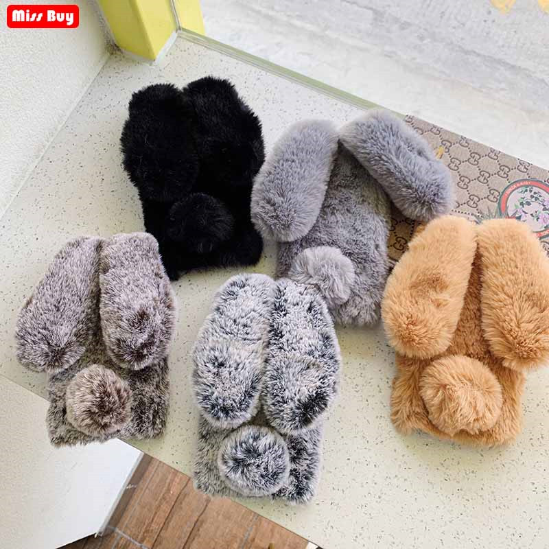 For <font><b>Xiaomi</b></font> <font><b>Redmi</b></font> <font><b>6</b></font> Case Plush Warm Lovely <font><b>Rabbit</b></font> Ears Furry Case For <font><b>Xiaomi</b></font> <font><b>Redmi</b></font> 6A Case Redmi6 Redmi6A Cover Protective Shell image
