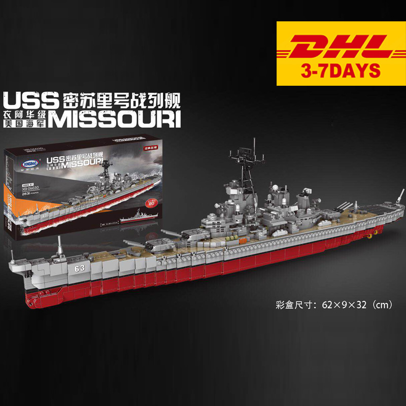 XINGBAO 06030 2631pcs Military Series The Missouri Battleship Set Building Blocks Bricks New Kid Toys Christmas Gifts Ship Model-in Blocks from Toys & Hobbies    1
