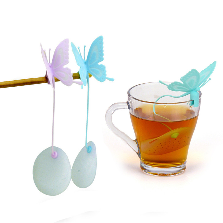 TTLIFE Butterfly Tea Strainer Kitchen Supplies Non-toxic Resuable Silicone Tea Infuser Tea Bag Teapot Tea Filter Free Shipping