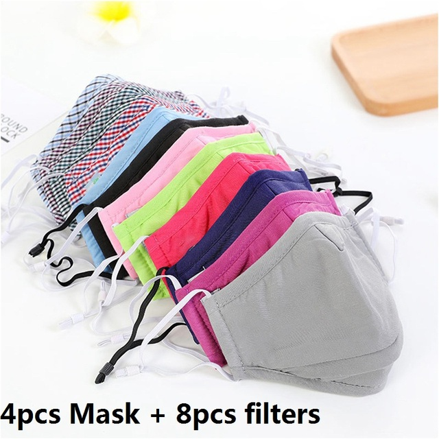 3/4pcs Cotton Mouth Mask Reusable Dust Flu PM2.5 Face Masks Activated Carbon Filter Windproof Adjustable Ear Strap 20*13cm