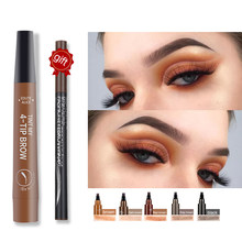 Crayon à sourcils liquide étanche, crayon à 4 fourchettes appliquer bien cosmétiques, brun naturel et durable, offre spéciale