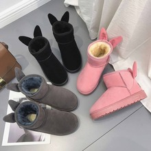 Platform Ankle Boots Women Faux Fur Warm Booties Cute Slip On Flat Shoes Round Toe Snow Boots Soft Bottom Creepers AEZLZ292