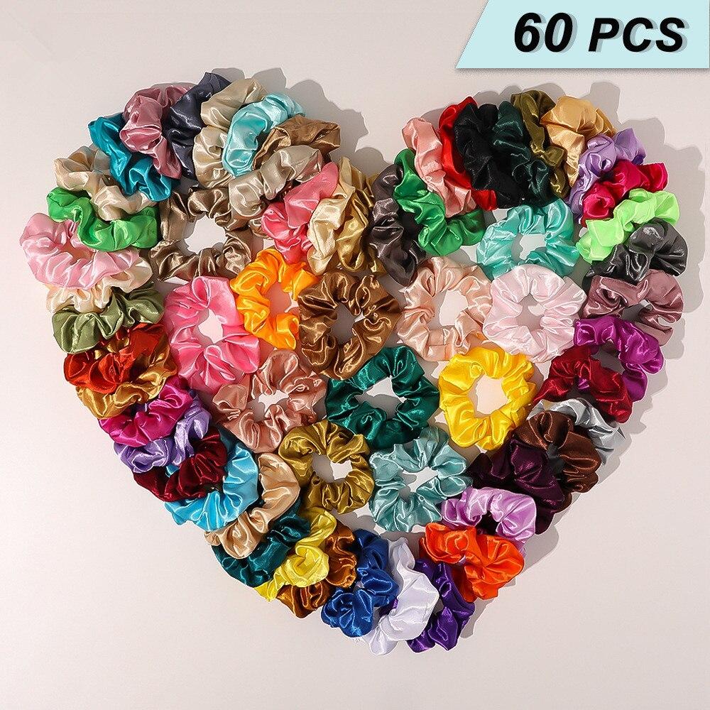 Vintage Hair Scrunchies Satin Rubber Girls Headwear Elastic Plain Stretchy Women 60pcs/Set