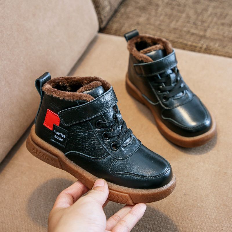 Winter New Boys Martin Boots For Kids Genuine Leather Shoes Plush Warm Fashion Retro Girls Snow Boots Children Ankle Boots Flats