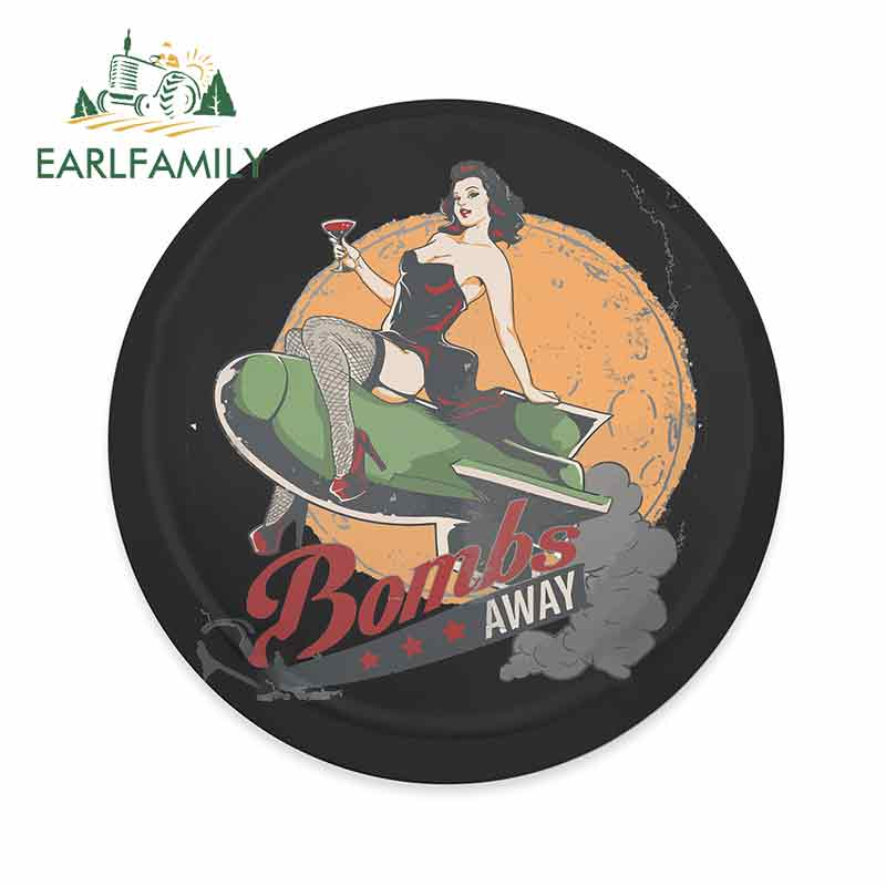EARLFAMILY 13cm X 12.8cm For Bombs Away Pin Up Funny Car Stickers Waterproof Bumper Decoration Occlusion Scratch Vinyl Car Wrap