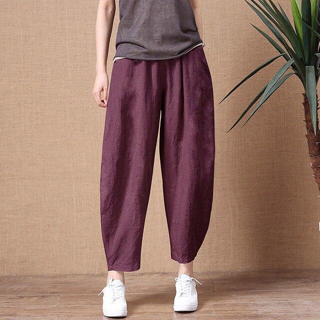 ShiMai Women's Cotton Linen Pants Elastic Waist Vintage Trousers Lady Loose Casual Pants S-2XL Retro Literary Cotton Trousers 1