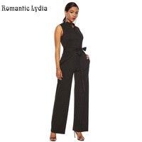 Black Jumpsuit Women Sleeveless Button Elegant Female Long Jumpsuit Plus Size
