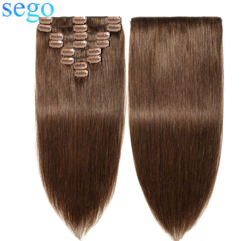 SEGO 120gram 10inch-24inch Clip In Human Hair Extensions Straight 8pc/Set Machine Remy Clip Ins Brazilian Blonde Hair Clip