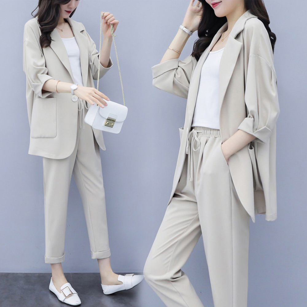 New Style Blazer + Nine Pants Two-piece Suit Fashion And Temperament Casual Two-piece Ladies Suit Ladies Blazer