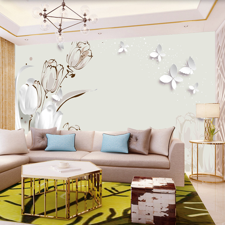 Modern Minimalist Living Room Television Background Wall Wallpaper Tulip Butterfly 3D Seamless Film And Television Wall Cloth 5D