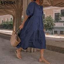 Denim Dress Plus-Size Summer Short-Sleeve Vestidos Casual Loose Mid-Calf VONDA Solid
