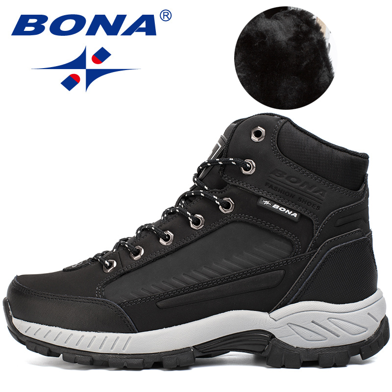 BONA 2019 New Designers Nubuck Leather Men Boots Plush Snow Boots Winter Shoes Man Outdoor Anti-Slip Warm Shoes Male Comfortable