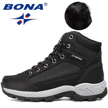 BONA 2019 nowi projektanci nubukowe skórzane buty męskie pluszowe śniegowce zimowe buty męskie odkryte antypoślizgowe ciepłe buty męskie wygodne tanie i dobre opinie Podstawowe Skóra Split ANKLE Stałe Dla dorosłych Plush Okrągły nosek RUBBER Zima Niska (1 cm-3 cm) 33820 Lace-up Pasuje prawda na wymiar weź swój normalny rozmiar