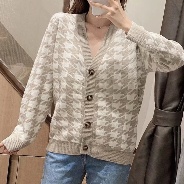 Spring Women Houndstooth Knitting Sweater Casual Female V Neck Long Sleeve Pullover Fashion Lady Loose Tops SW899 4