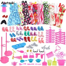 83 items/set Poppen Accessoires = 18 Pairs Schoenen & 10 Mode Jurk Voor Barbie Pop Outfits Kleding Ketting oorbel Stand Bag Speelgoed(China)