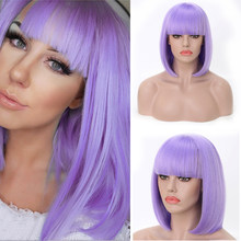 FREEWOMAN Purple Straight Synthetic Wig Short Bob Wig With Bangs Hair Extension Lolita Wigs For Woman Styled Red Pink Blond Blue(China)