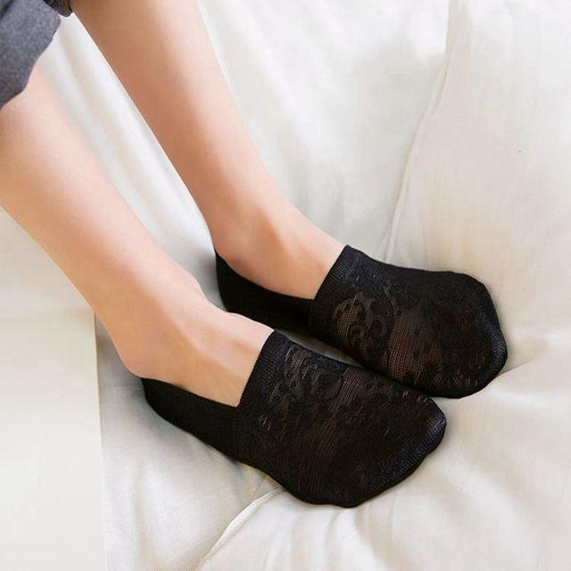 Women Girls Summer Style Lace Flower Short Sock- Antiskid Invisible Ankle Socks  3