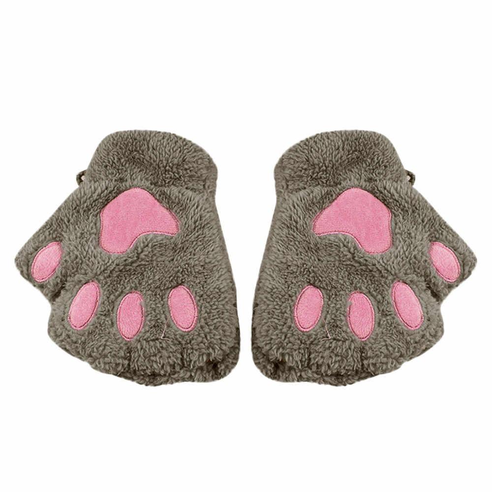 ถุงมือแฟชั่นสาว Boy Cat Claw PAW Fingerless ฤดูหนาวอุ่นถุงมือถุงมือ Mitten Unisex ป้องกันมือข้อมือ