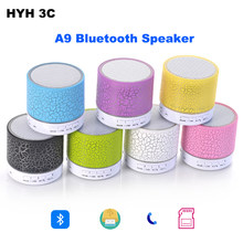 A9 Bluetooth Portable Speaker 6 Color Mini Wireless Loudspeaker LED TF USB Subwoofer mp3 stereo audio music player(China)