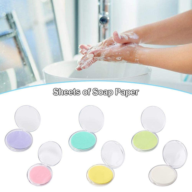 50Pcs/box Disposable Soap Portable Mini Soap Paper Camping Hiking Travel Washing Hand Bath Clean Scented Slice Sheets TSLM1 1