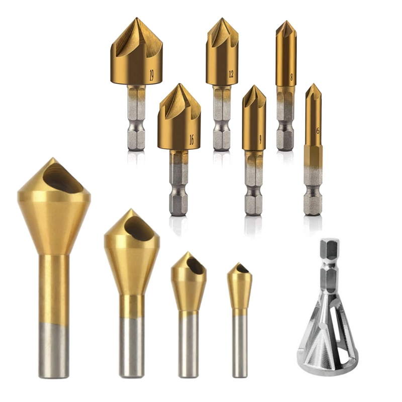 11Pcs Titanium Coating Countersink Drill Bit Set 5 Flutes Chamfer Drill Deburring Bit External Deburring Drill Bit