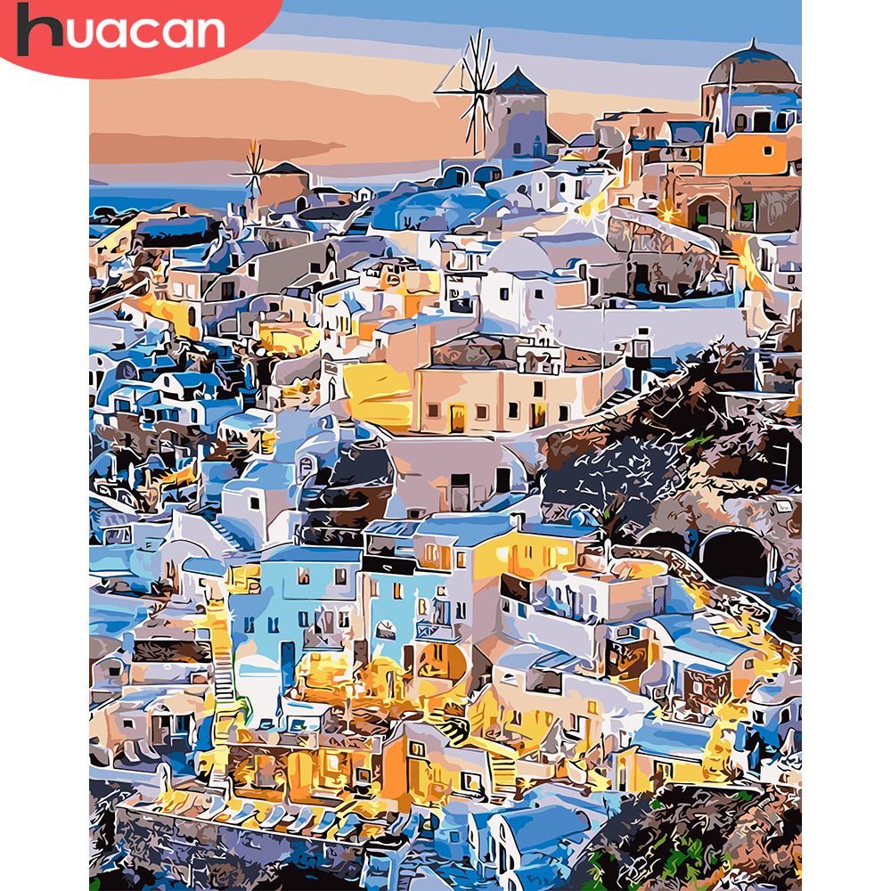 HUACAN Oil Painting By Number Castle Scenery Kits Drawing Canvas HandPainted DIY Pictures By Number Landscape Home Decor