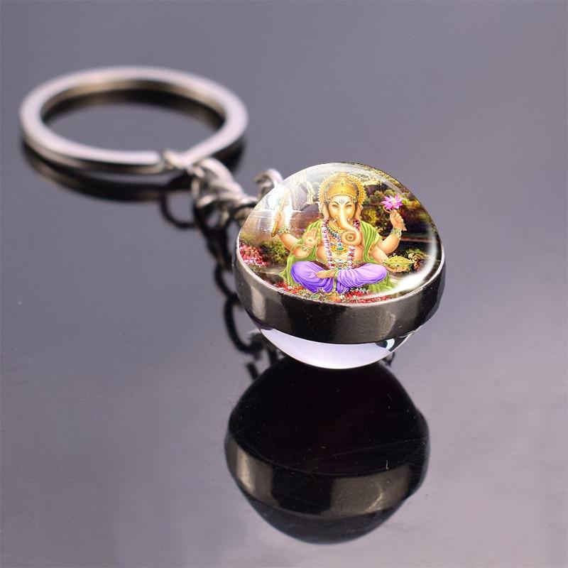 India Buddha Keychain Lord Ganecha Amulet Glass Ball Keychain Car Key Chain Hinduism Jewelry Gifts