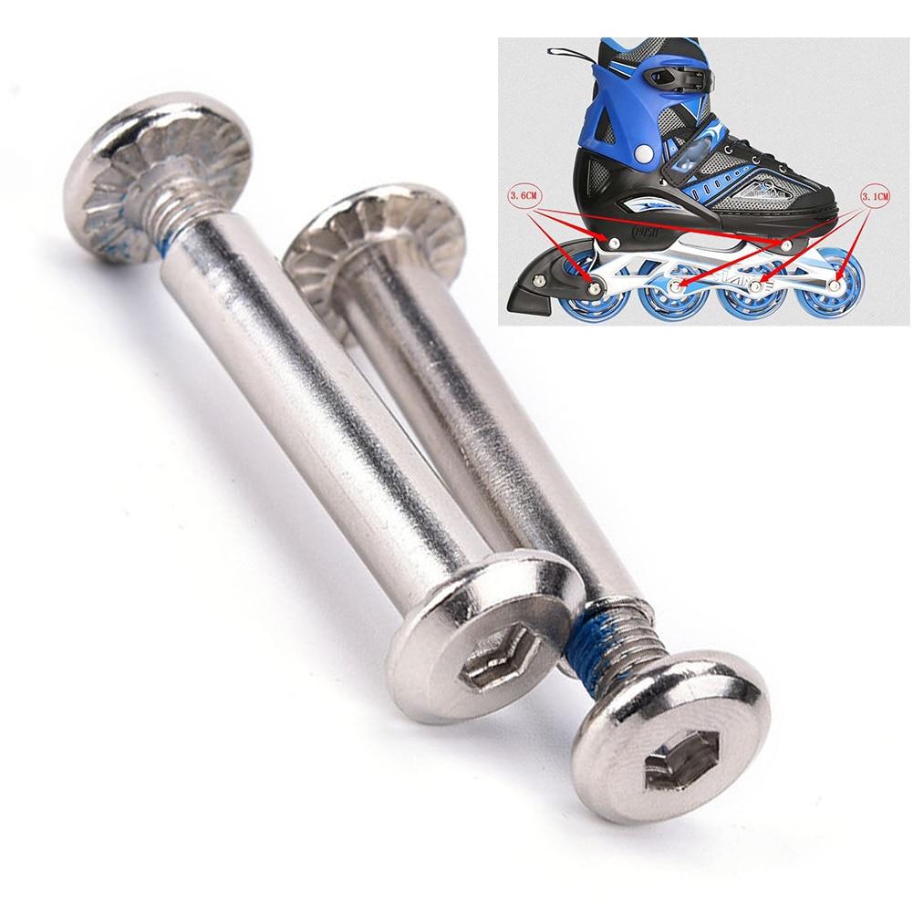 Inline Roller Axles Iron Skate Wheel Bolt Set Easy Install Replacement Screws