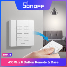 Itead Sonoff RM433 Remote 8 Button RF Remote&Base One Key Pairing Easy to Install Works with 433Mhz Sonoff Smart Home Switches