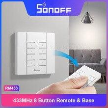 Sonoff mando a distancia Itead RM433, mando a distancia de 8 botones, RF y Base, emparejamiento de una tecla, fácil de instalar, funciona con interruptores Sonoff de 433Mhz para casa inteligente