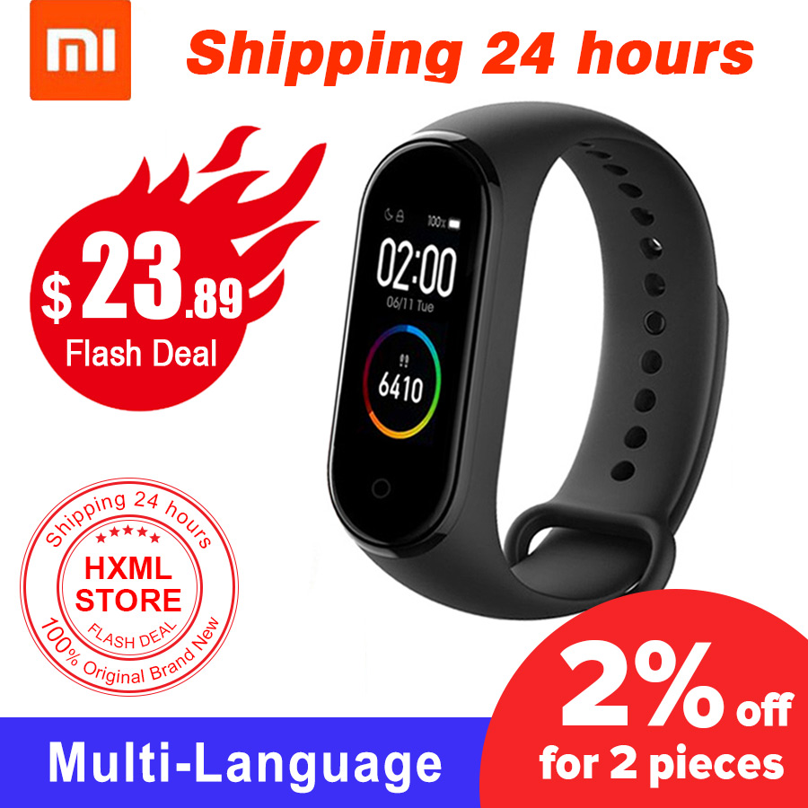 Original Xiaomi Mi Band 4 Original Newest Xiaomi Miband 4 Bracelet 3 Colour Heart Rate Fitness 135mAh Color Screen Bluetooth 5.0